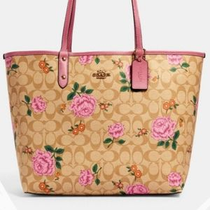 NWT Coach Reversible Tote with Rose Print